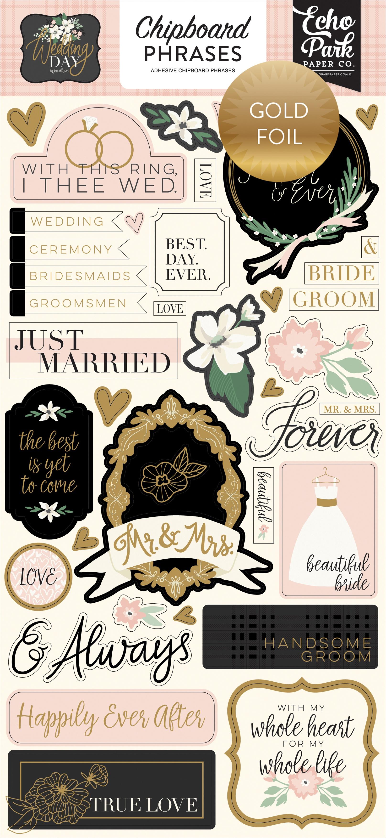 Echo Park Wedding Day Chipboard Phrases