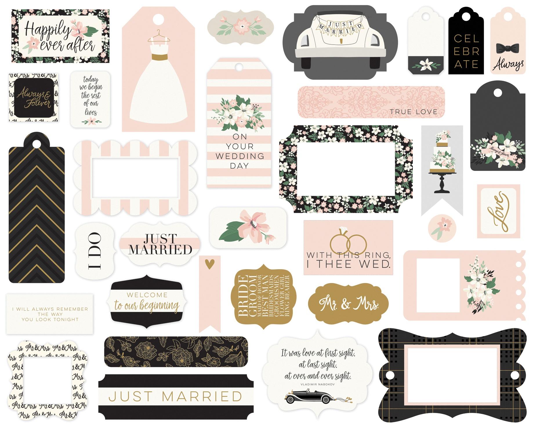 Echo Park Cardstock Ephemera 33/Pkg-Frames & Tags, Wedding Day