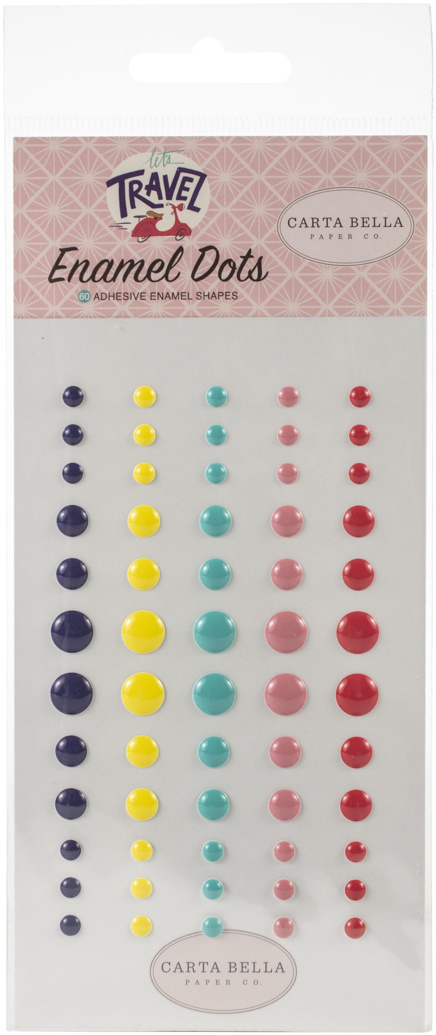 Carta Bella Adhesive Enamel Dots 60/Pkg-Let's Travel