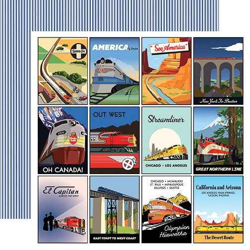 All Aboard Double-Sided Cardstock 12X12-3X4 Journaling Cards
