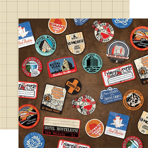 All Aboard Double-Sided Cardstock 12X12-Luggage Stickers