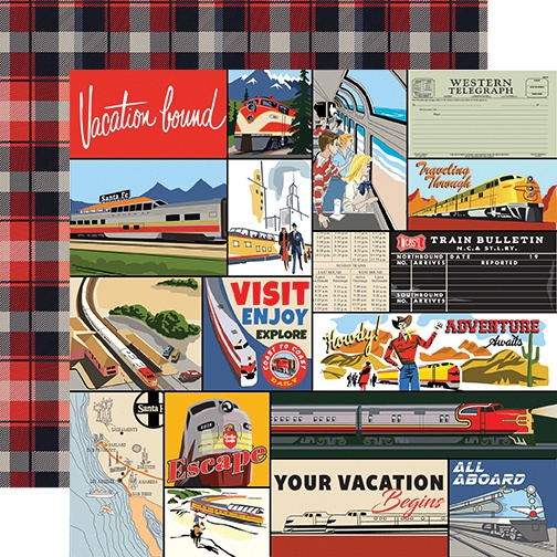 All Aboard Double-Sided Cardstock 12X12-Multi Journaling Cards