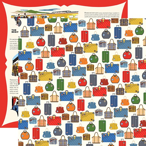 All Aboard Double-Sided Cardstock 12X12-Luggage