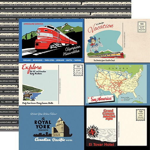 All Aboard Double-Sided Cardstock 12X12-Postcards