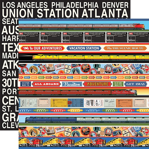 All Aboard Double-Sided Cardstock 12X12-Border Strips