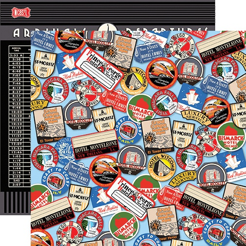 All Aboard Double-Sided Cardstock 12X12-Destination Stickers