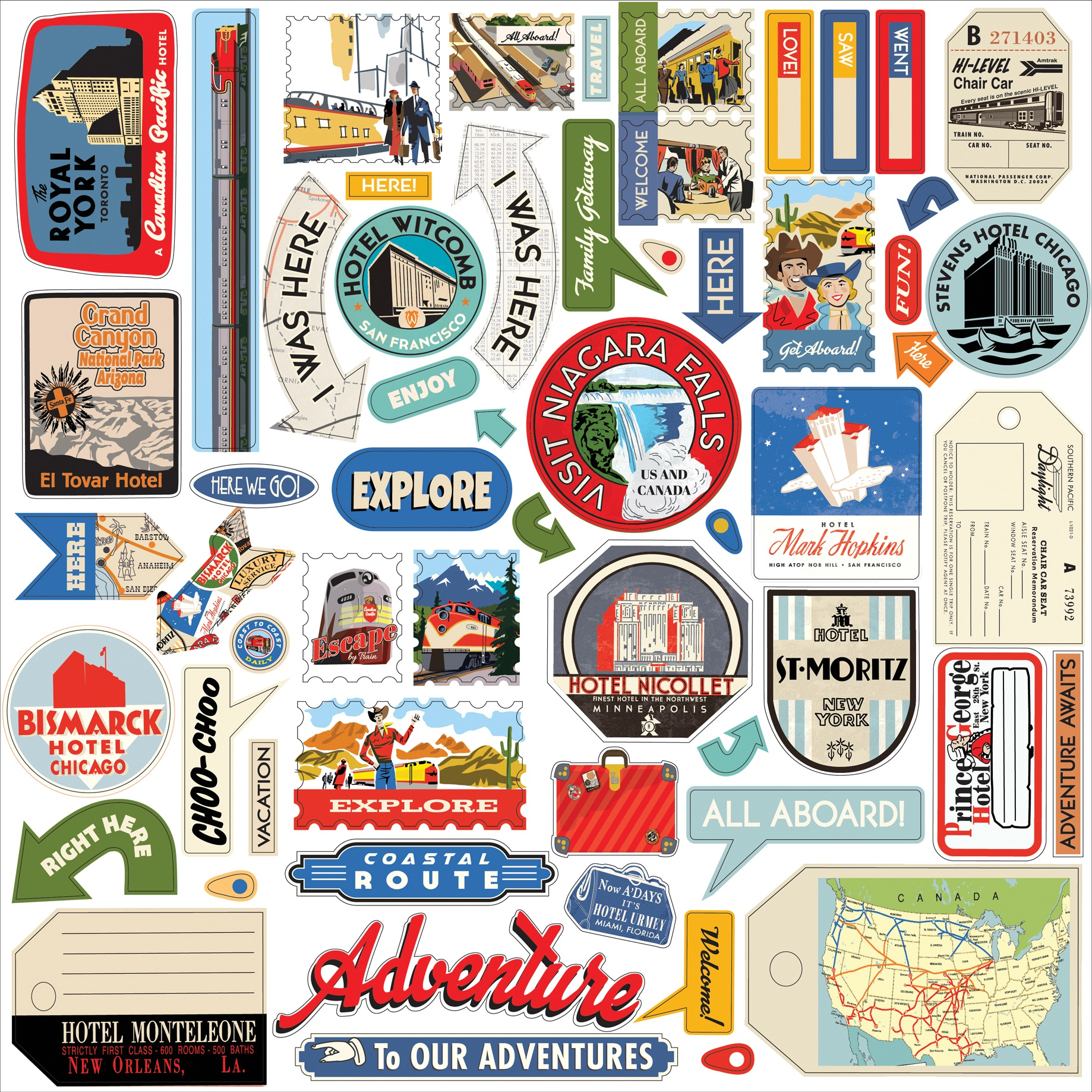 All Aboard Cardstock Stickers 12X12-Elements
