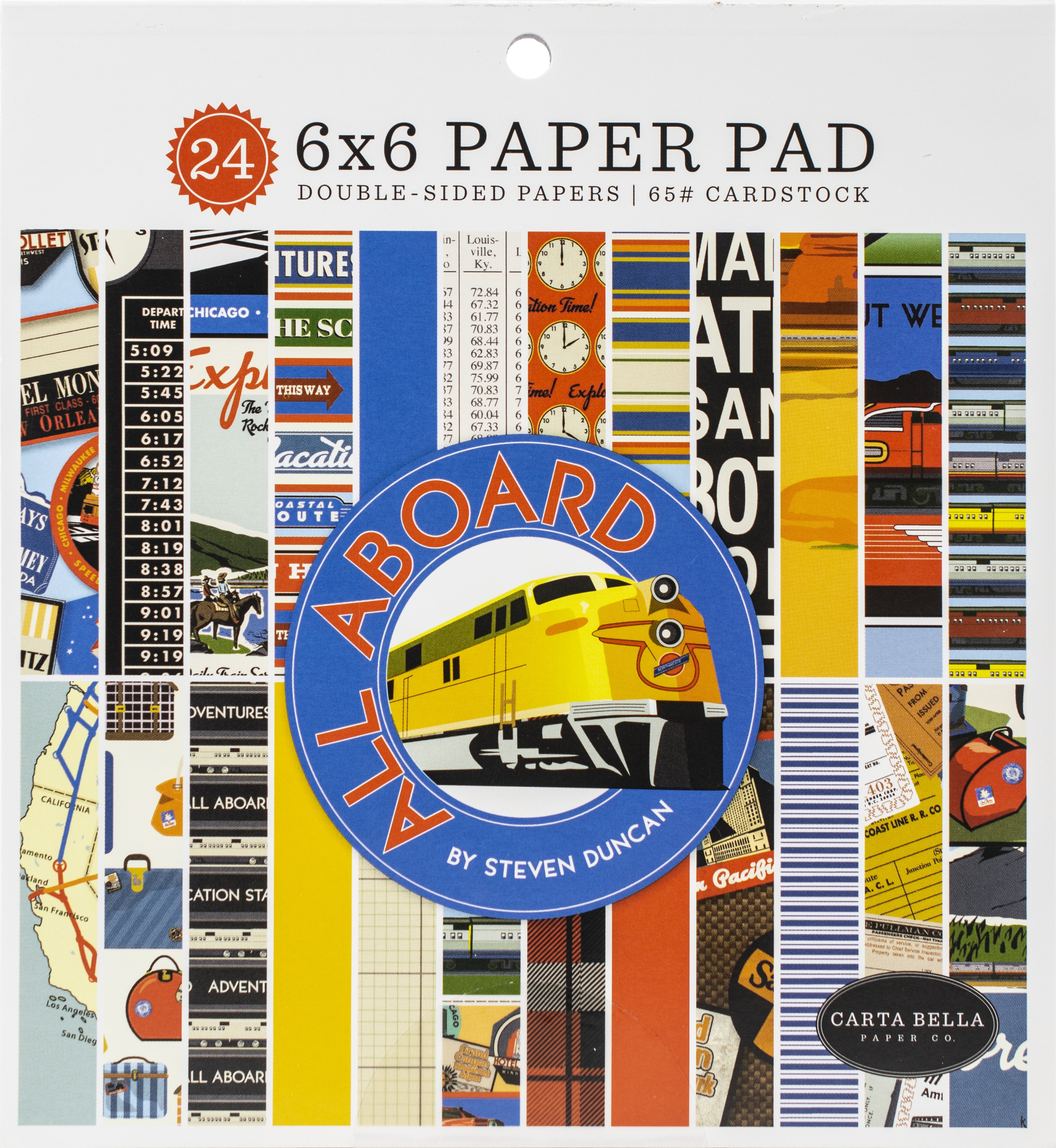 Carta Bella Double-Sided Paper Pad 6X6 24/Pkg-All Aboard, 12 Designs/2 Each