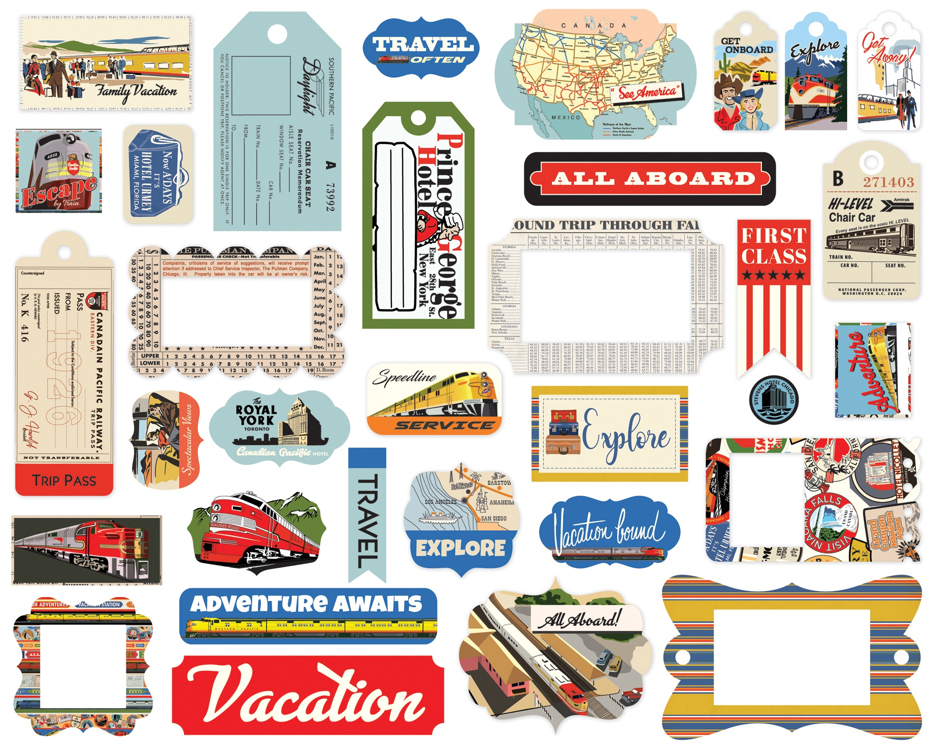Carta Bella Cardstock Ephemera 33/Pkg-Frames & Tags, All Aboard