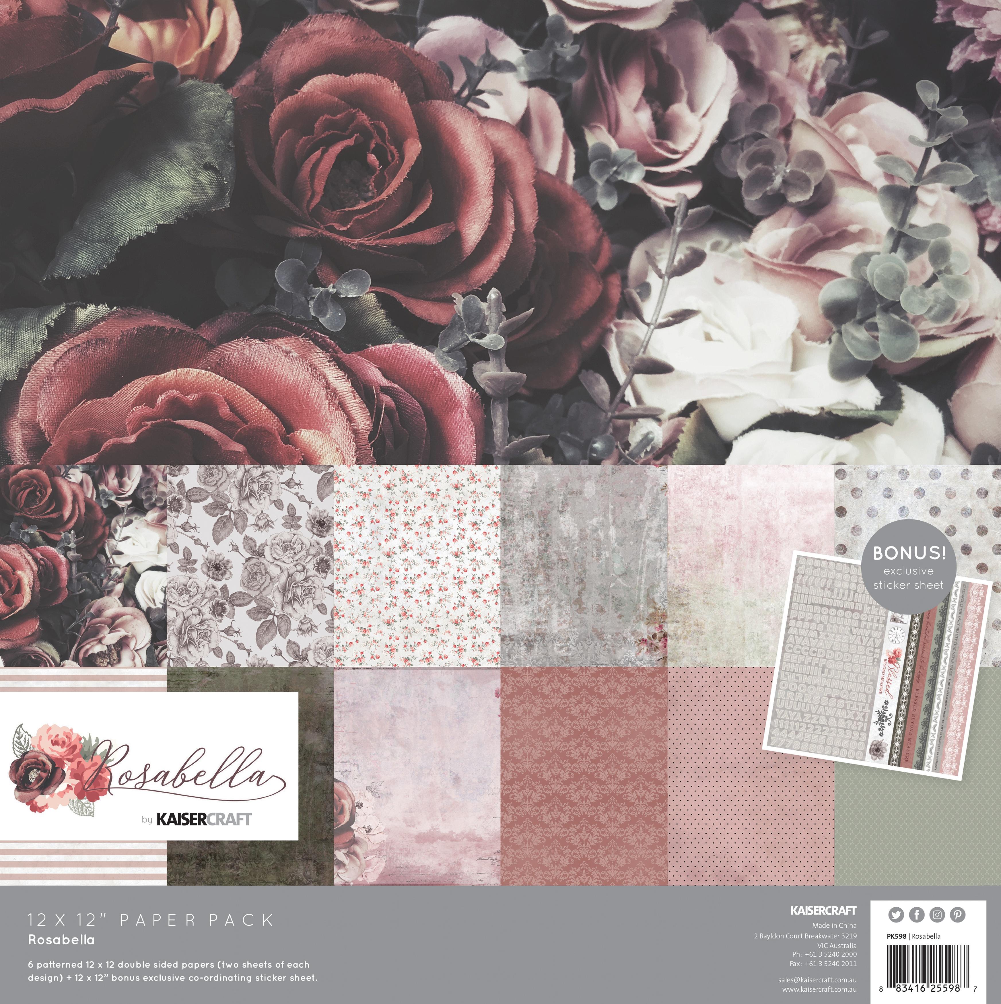 Kaisercraft Paper Pack 12X12 12/Pkg-Rosabella