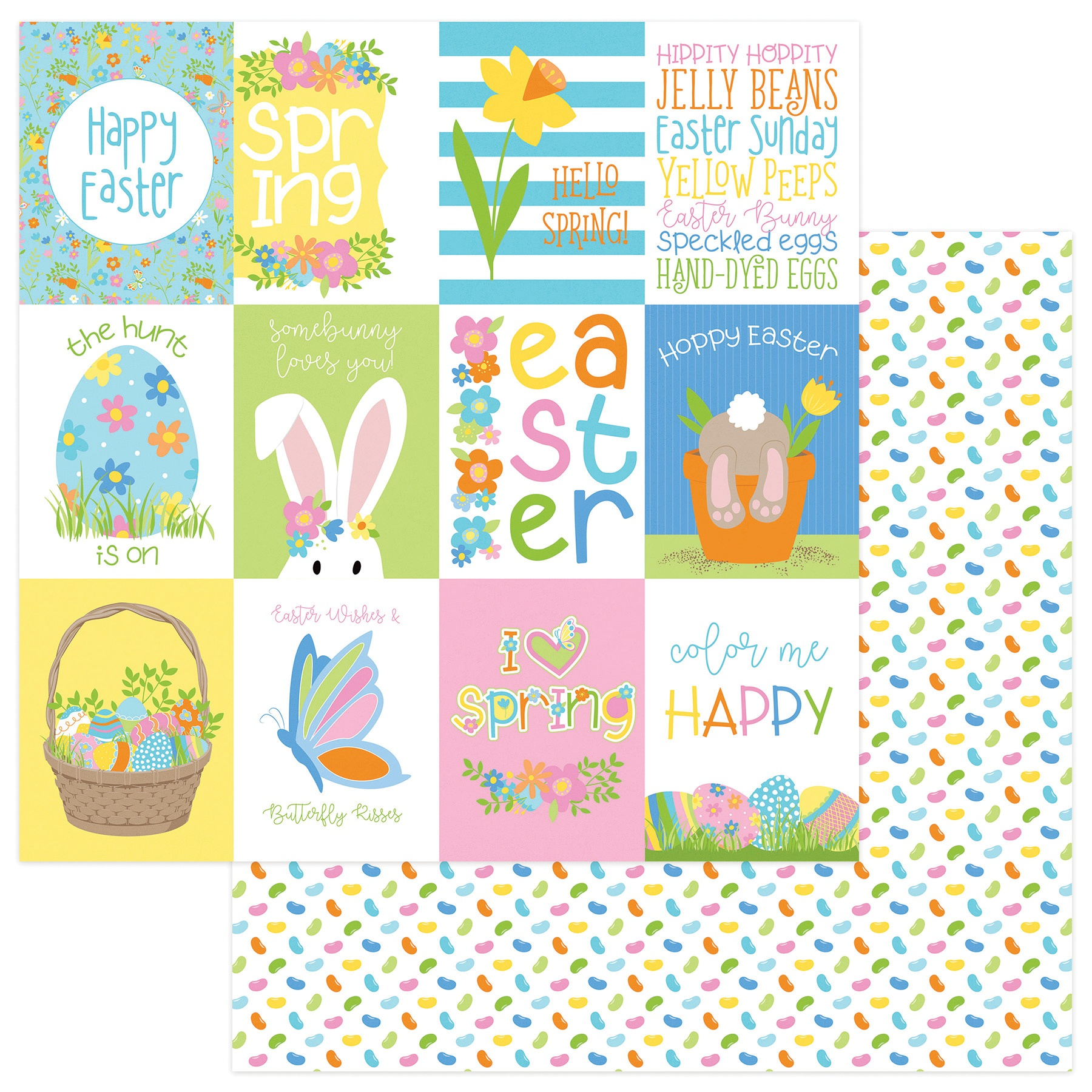 Bunny Trail Double-Sided Cardstock 12X12-Hoppy Easter