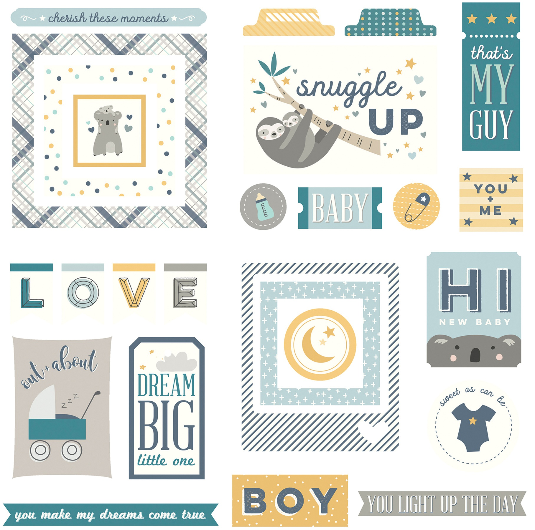 PhotoPlay - Snuggle Up Boy Collection - Cardstock Ephemera Die Cuts