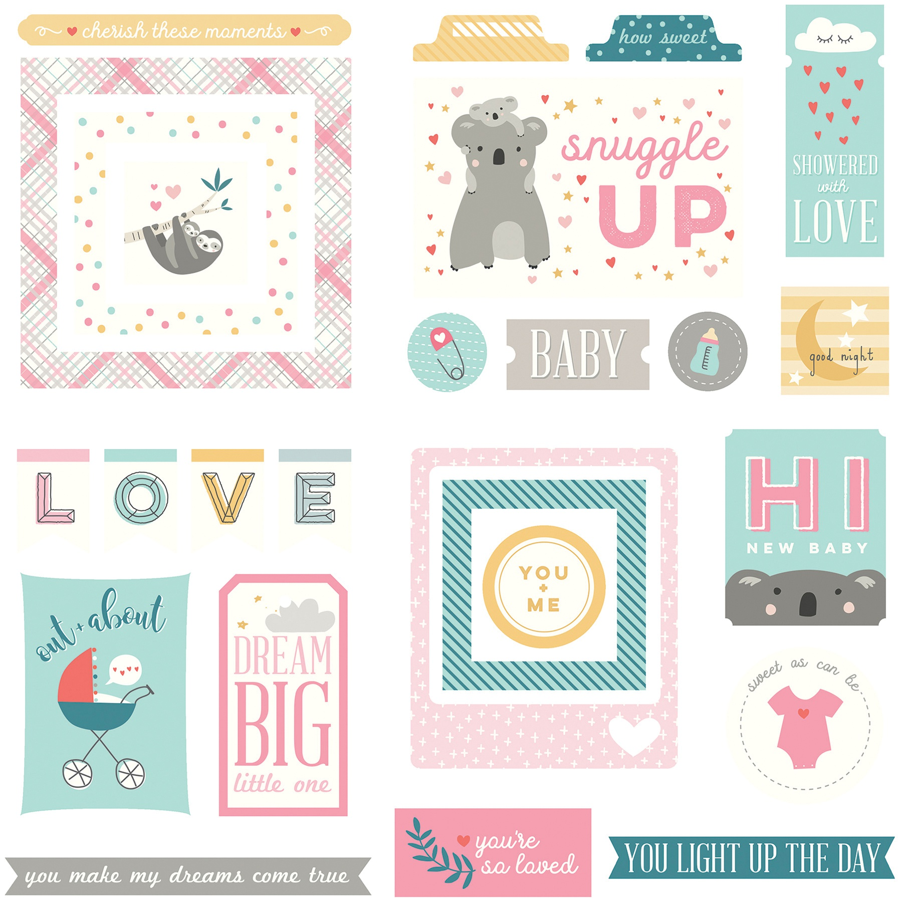 PhotoPlay - Snuggle Up Girl Collection - Cardstock Ephemera Die Cuts