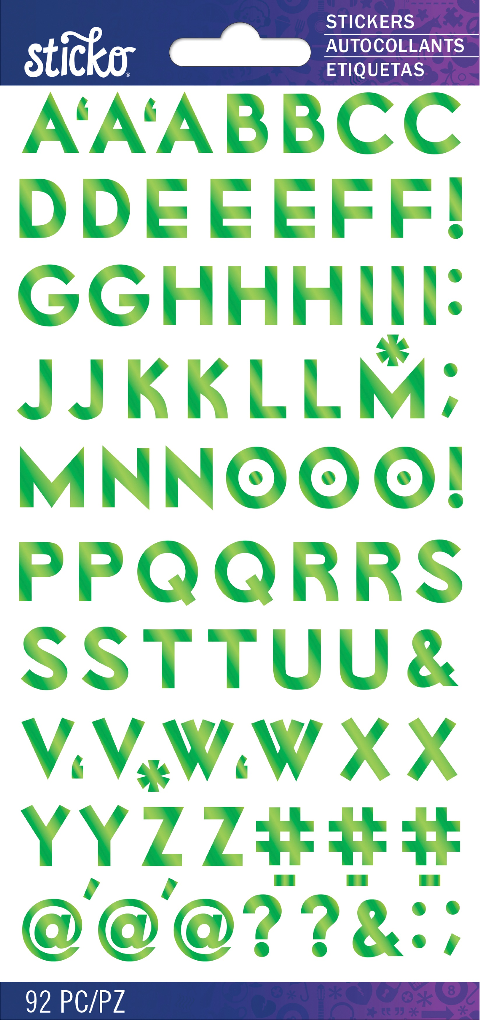 Sticko Iridescent Small Alphabet Stickers-Green Futura