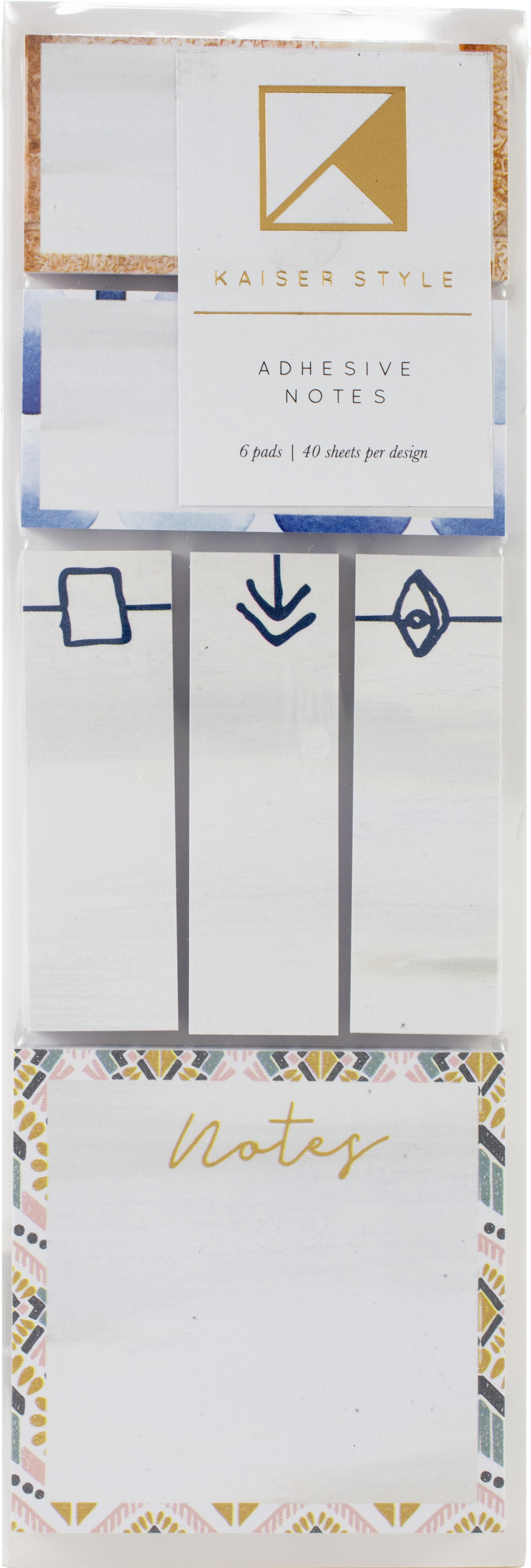 Kaiser Style Adhesive Note Pads 6/Pkg-Wanderlust; Assorted Sizes & Designs