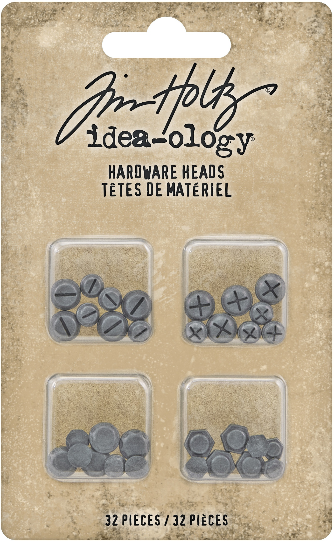 Idea-Ology Metal Hardware Heads 32/Pkg-Flatback