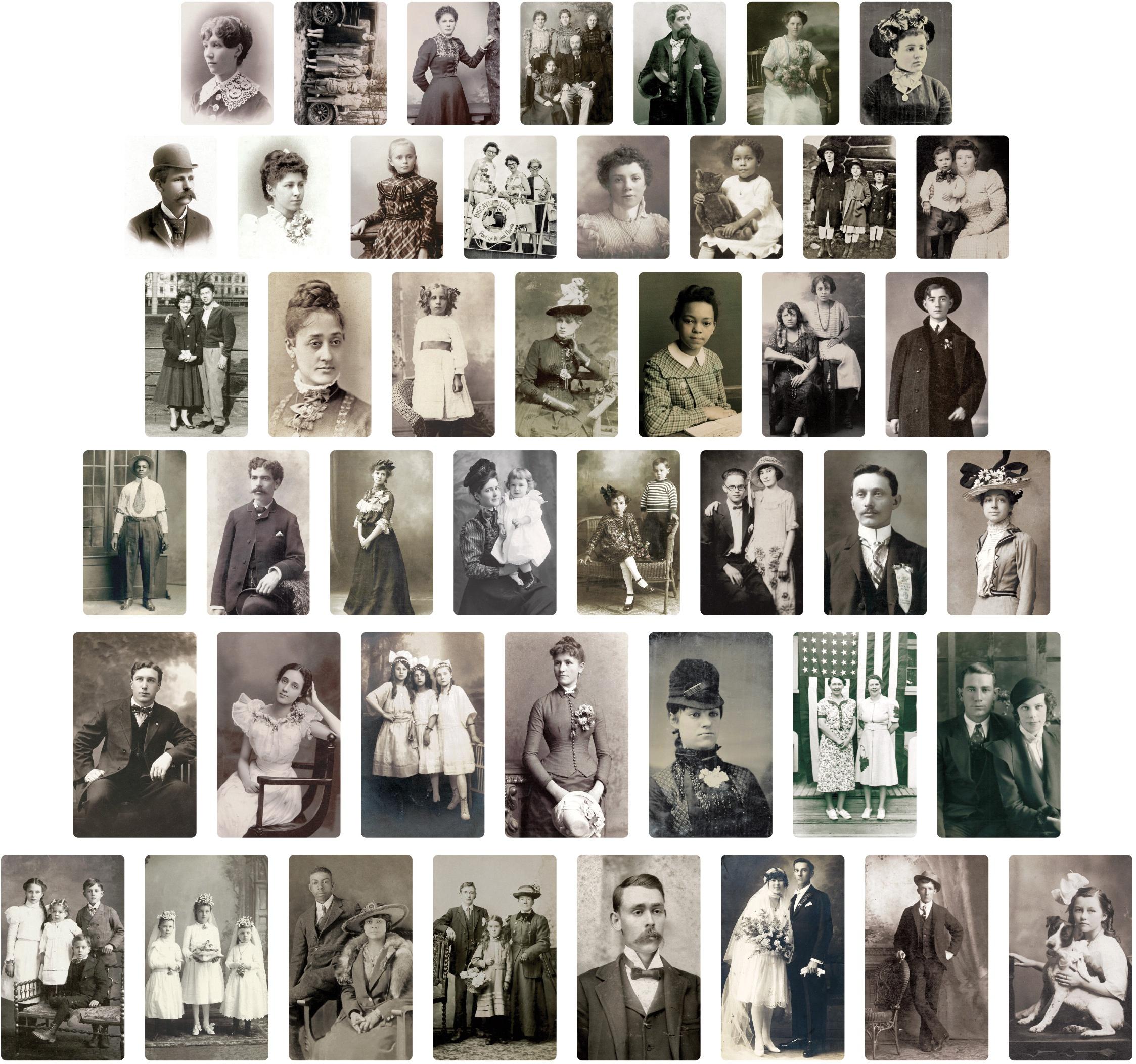 Idea-Ology Found Relative Vintage Portraits 45/Pkg-