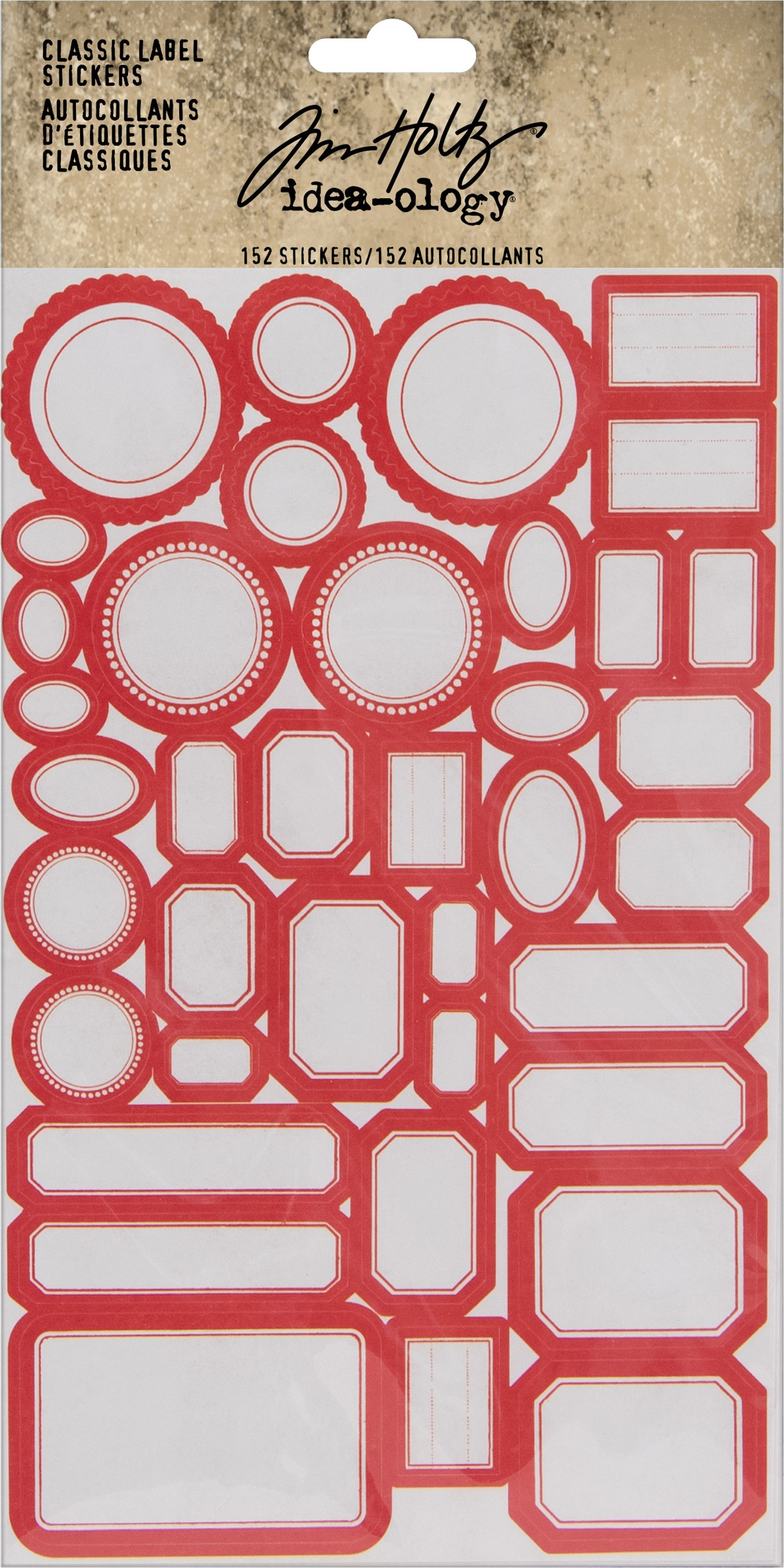 Idea-Ology Classic Label Stickers 152/Pkg-Red/White