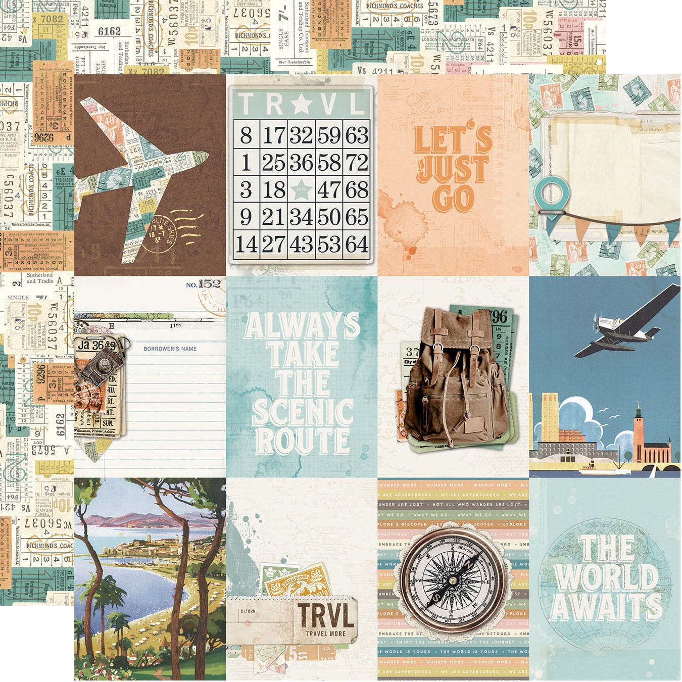 ^Simple Vintage Traveler - 3x4 Elements - 12x12 Double-Sided Paper