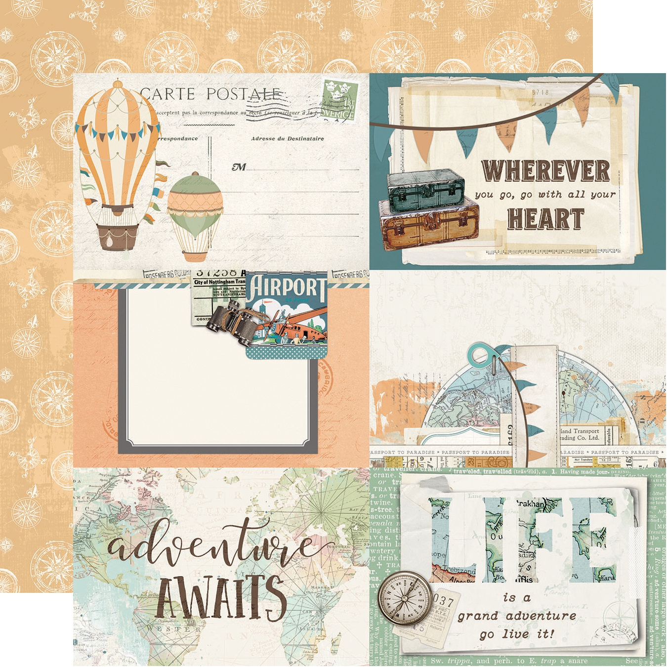 Simple Vintage Traveler Double-Sided Cardstock 12X12-4X6 Verticle Elements
