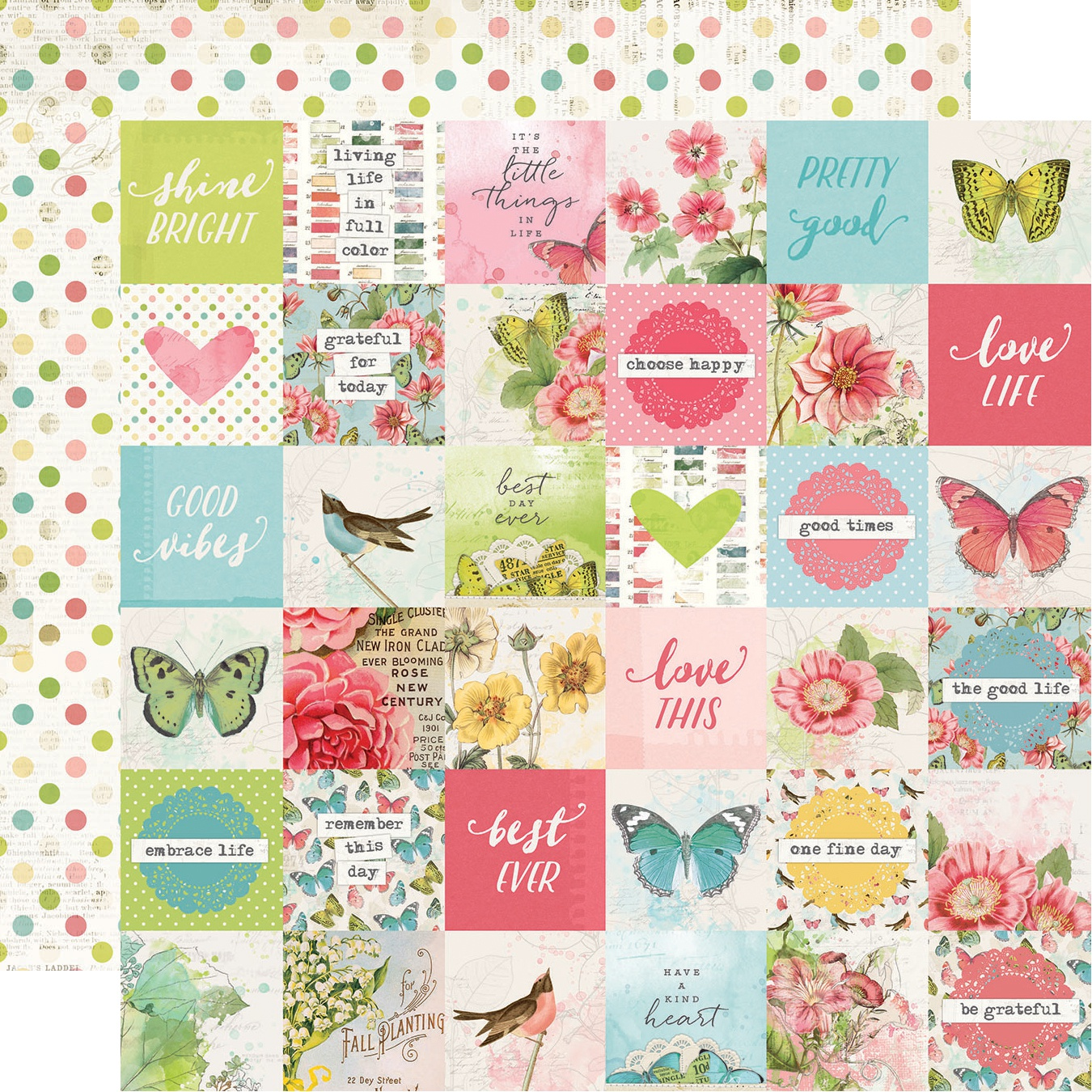 Simple Vintage Botanicals Double-Sided Cardstock 12X12-2X2 Elements