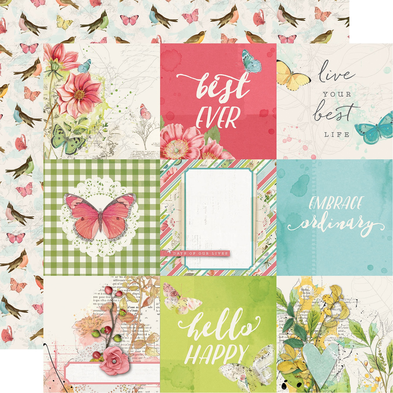 Simple Vintage Botanicals Double-Sided Cardstock 12X12-4X4 Elements