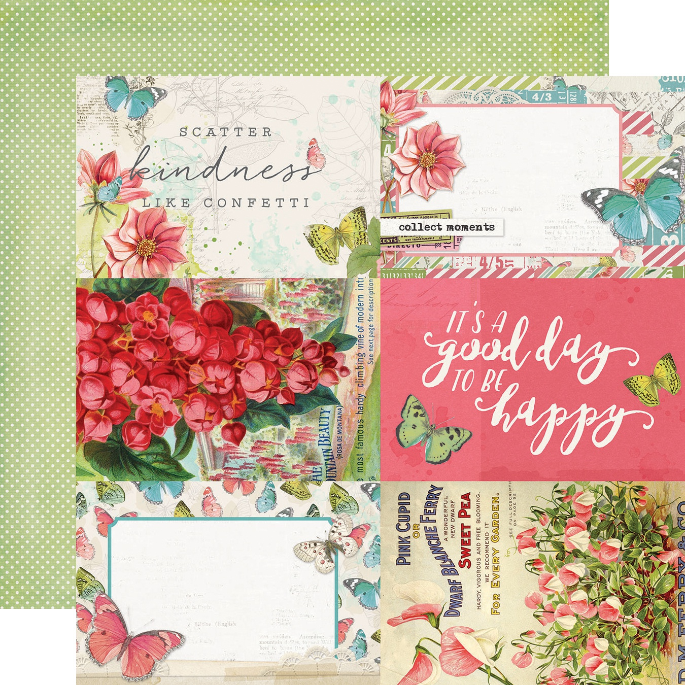 Simple Vintage Botanicals Double-Sided Cardstock 12X12-4X6 Elements