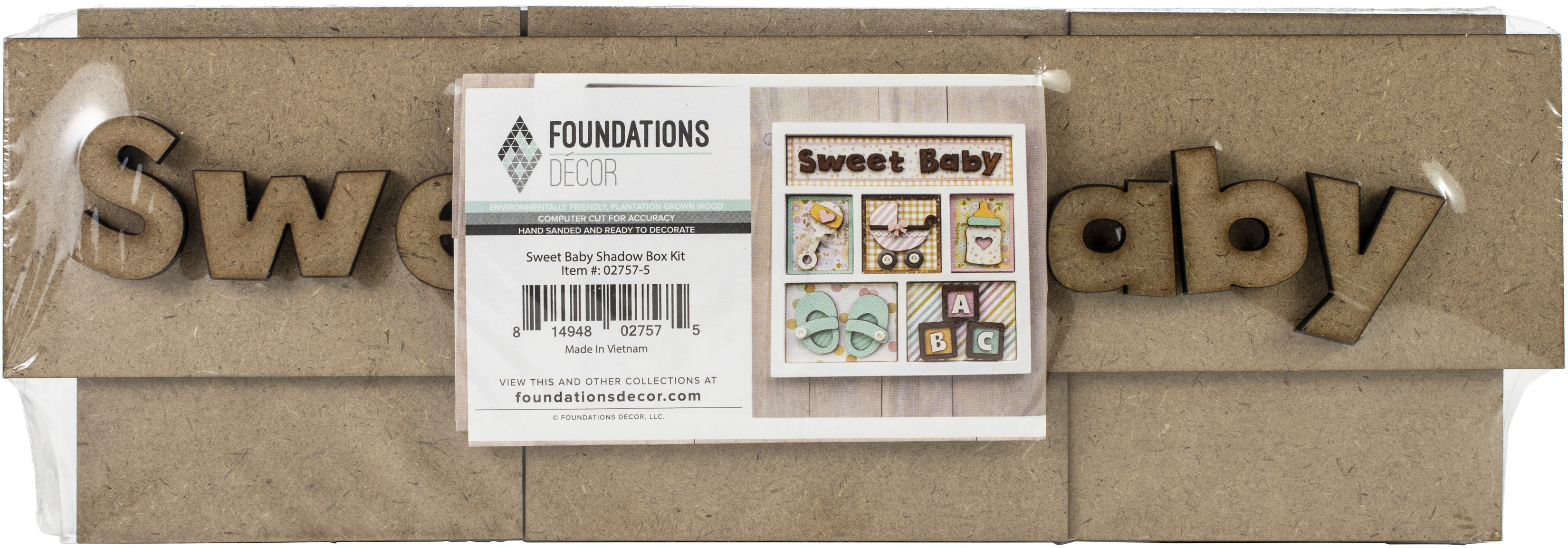Foundations Decor Shadow Box Kit-Sweet Baby