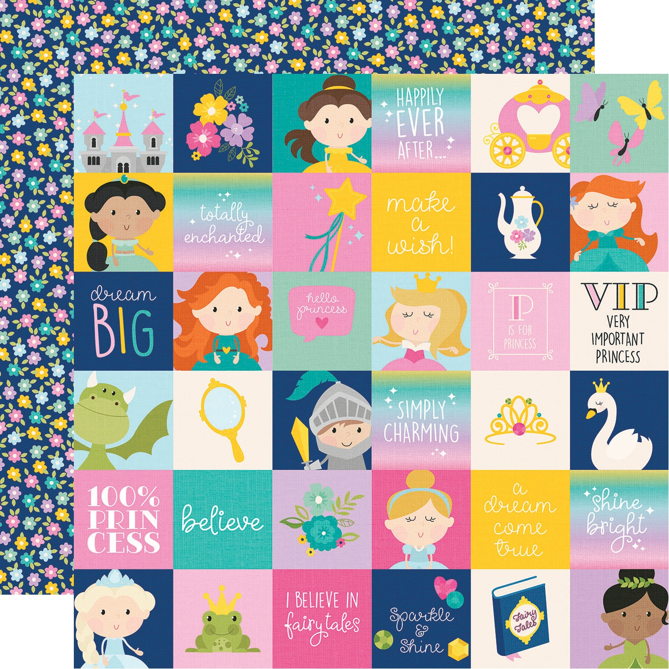 Little Princess Double-Sided Cardstock 12X12-2X2 Elements