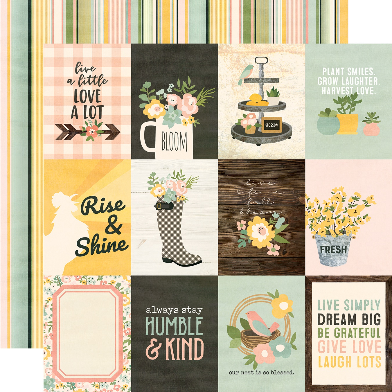 Spring Farmhouse Double-Sided Cardstock 12X12-3X4 Elements