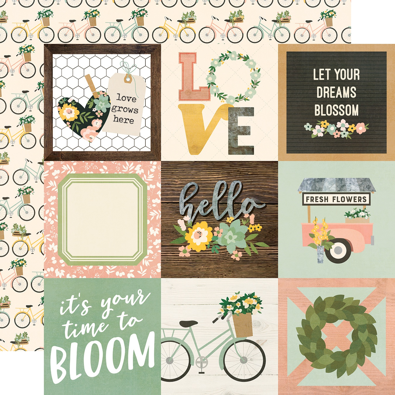 Spring Farmhouse Double-Sided Cardstock 12X12-4X4 Elements