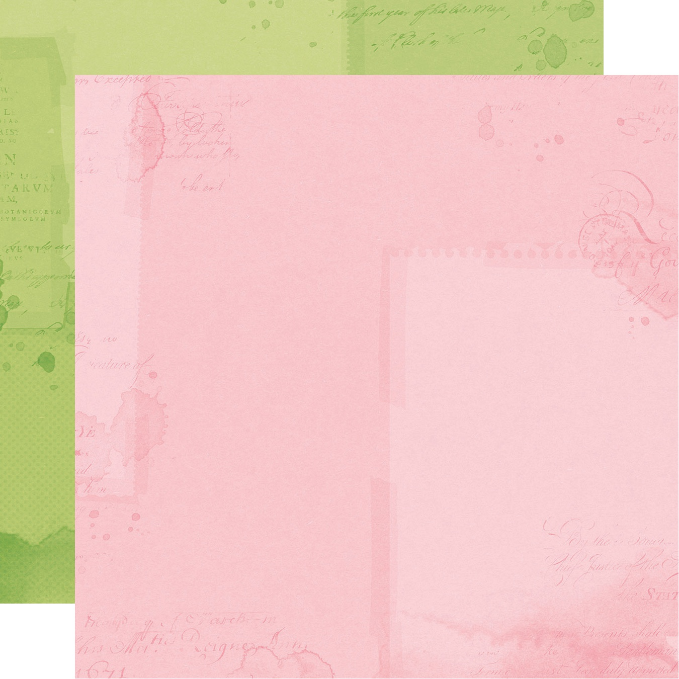 Simple Vintage Botanicals Double-Sided Cardstock 12X12-Green/Pink Simple Basic