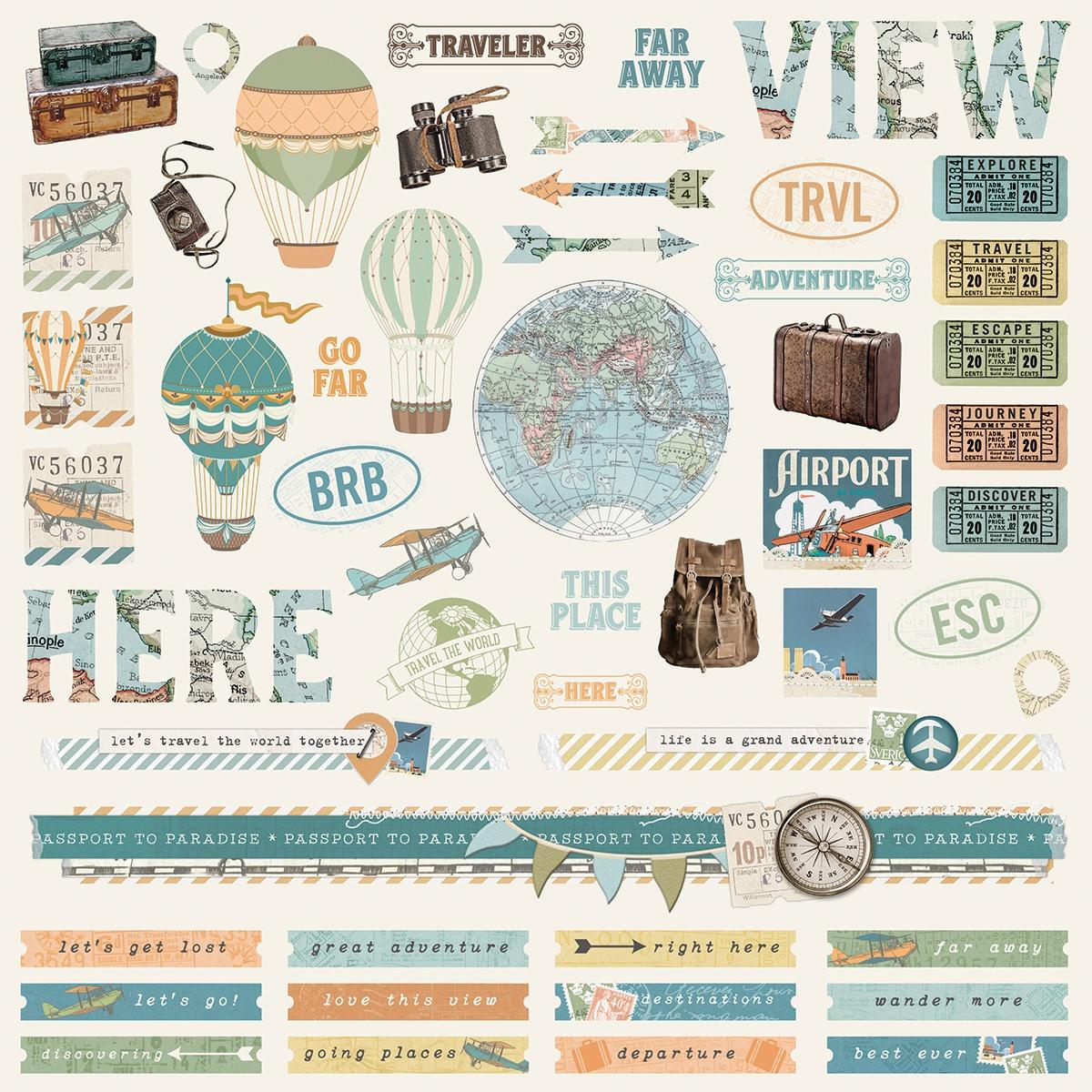 Simple Stories Vintage Traveler Cardstock Stickers