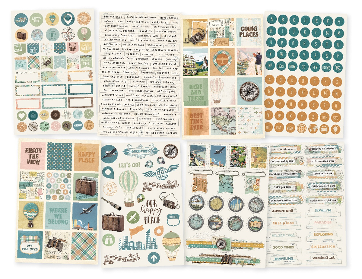 Simple Vintage Traveler Stickers 4X6 8/Pkg-
