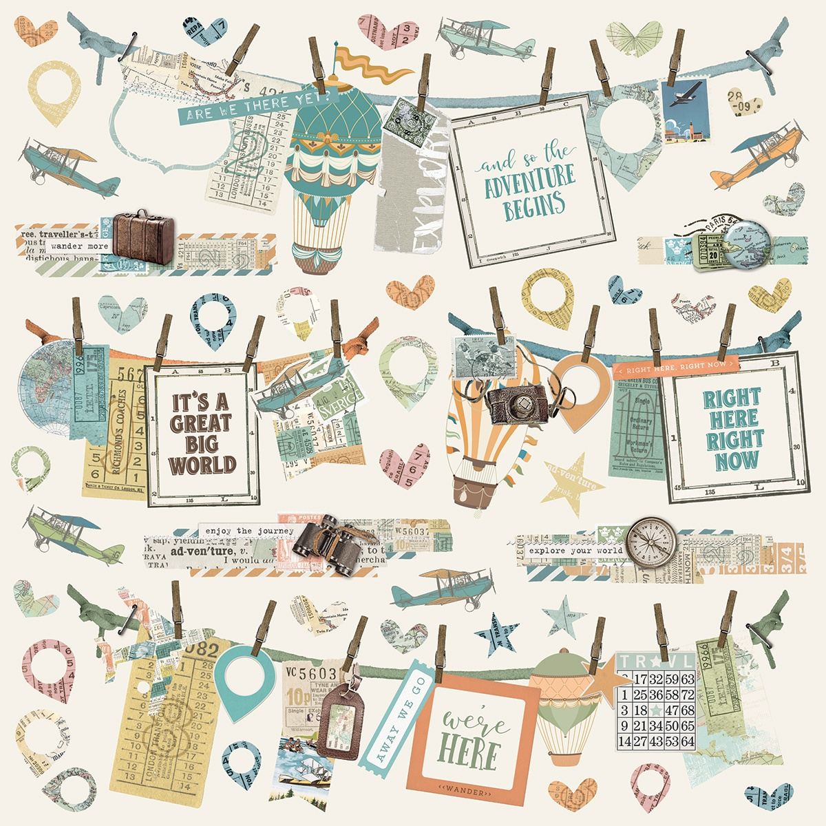 Simple Vintage Traveler Cardstock Stickers 12X12-Banners