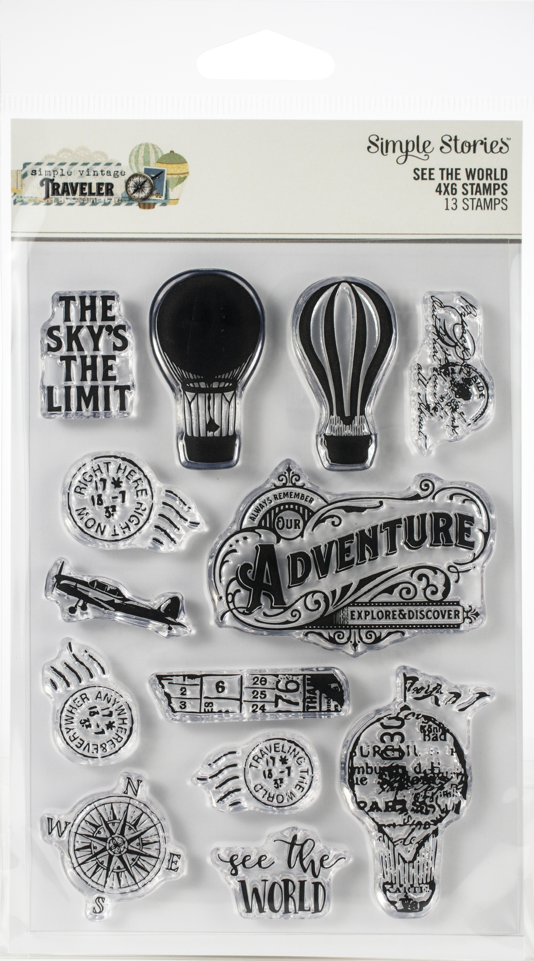 Simple Vintage Traveler Photopolymer Clear Stamps-See The World