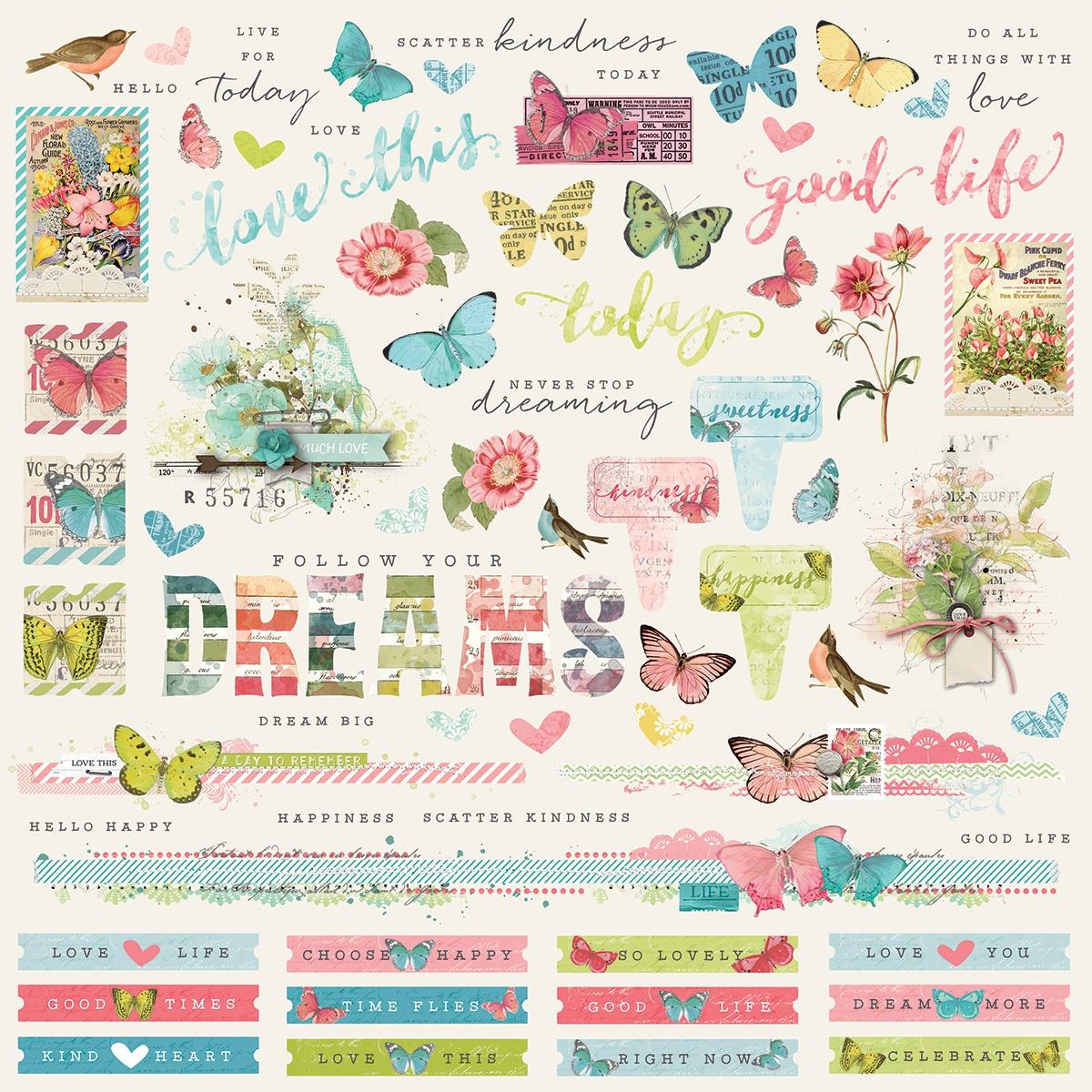 Simple Vintage Botanicals Cardstock Stickers 12X12-Combo