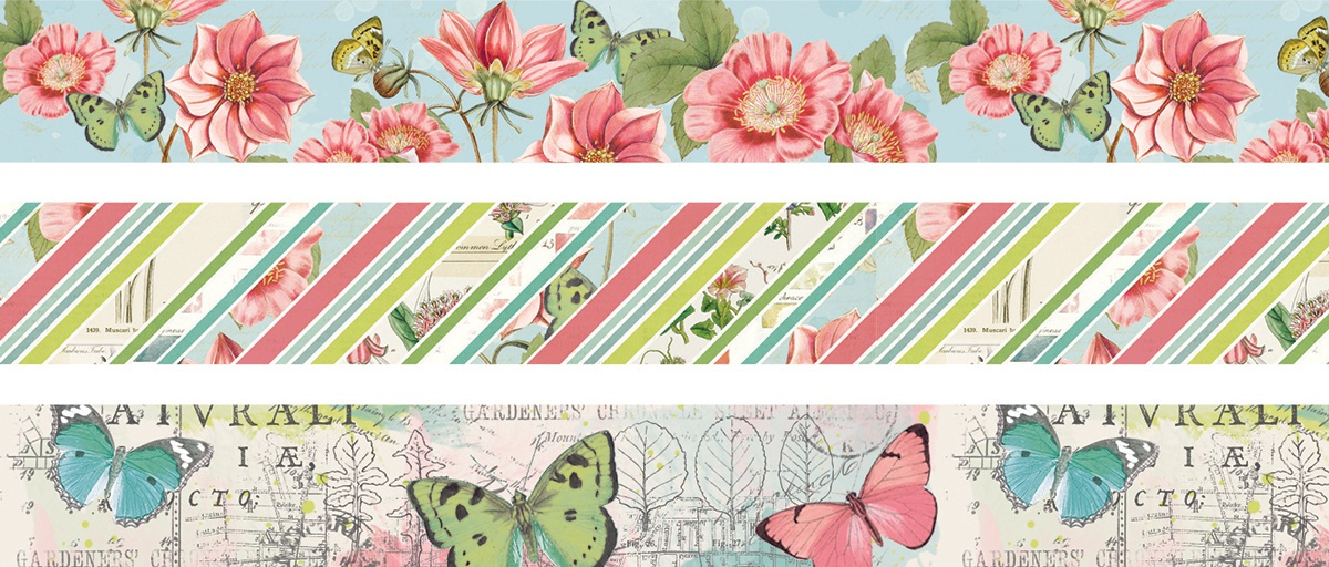 Carpe Diem - Simple Vintage Botanicals Washi Tape - 3 Rolls