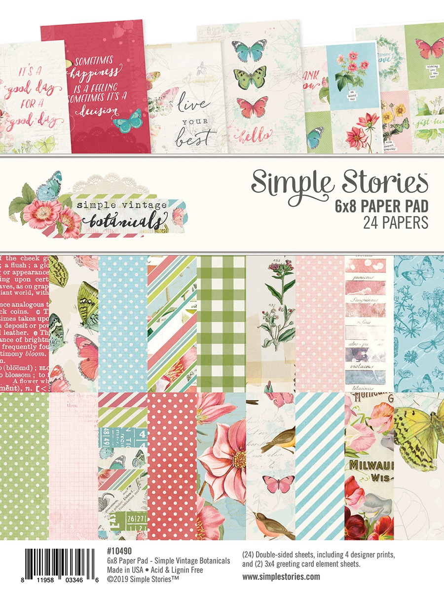 Simple Stories Double-Sided Paper Pad 6X8 24/Pkg-Simple Vintage Botanicals, 8 ...