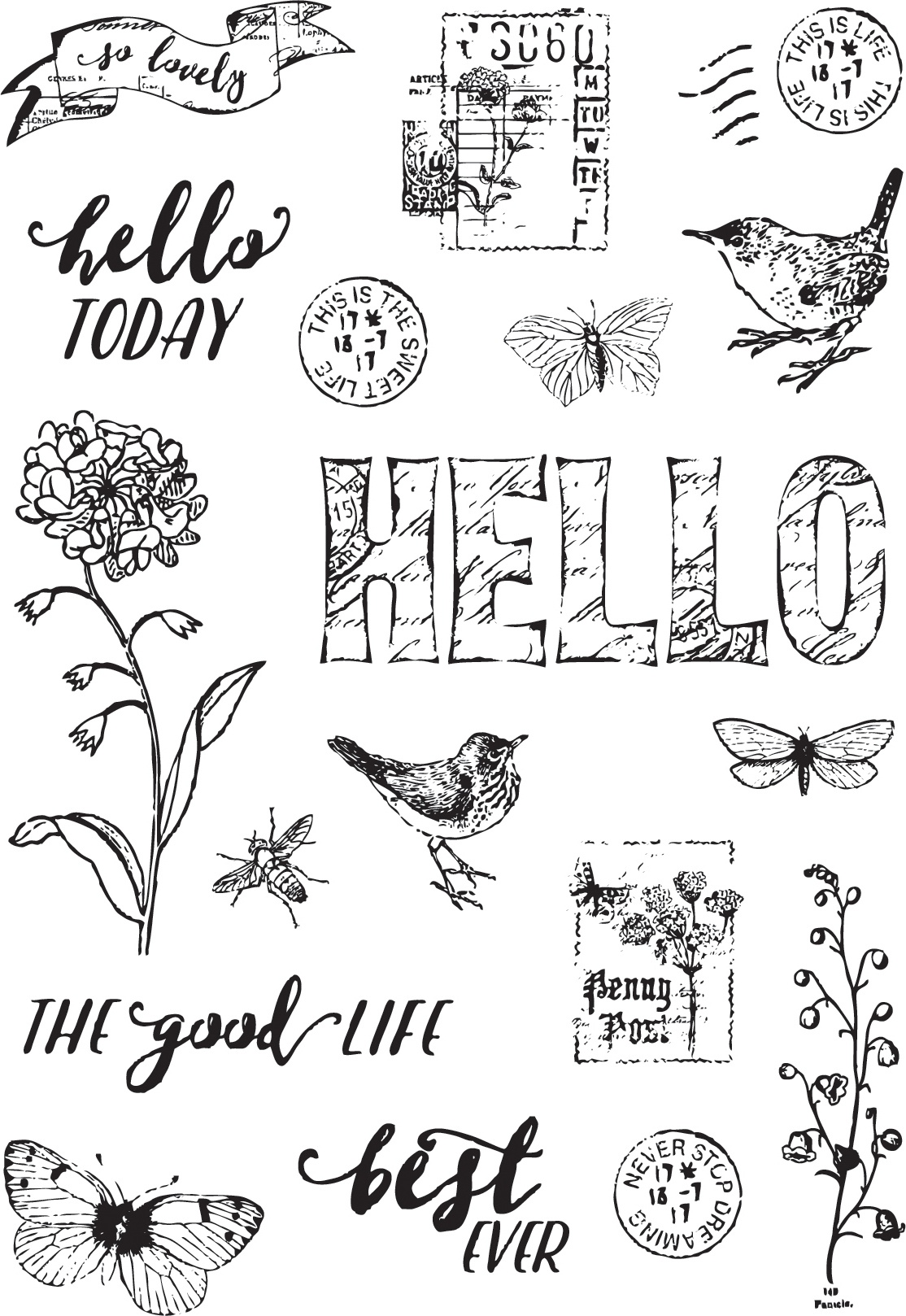 Simple Vintage Botanicals Photopolymer Clear Stamps-Love Life