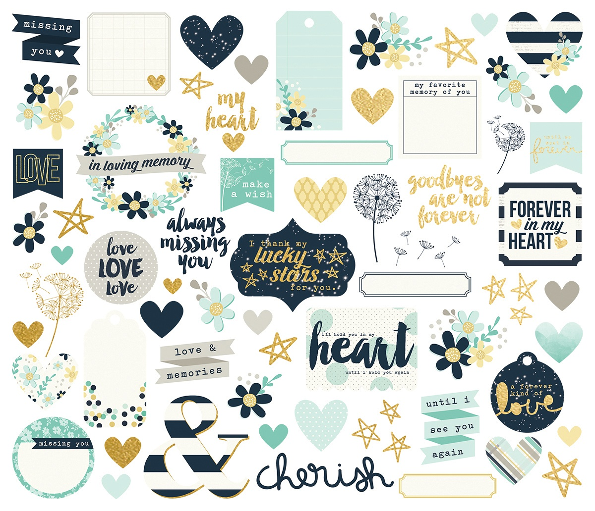 Simple Stories - Heart - Bits & Pieces - Die Cut Ephemera