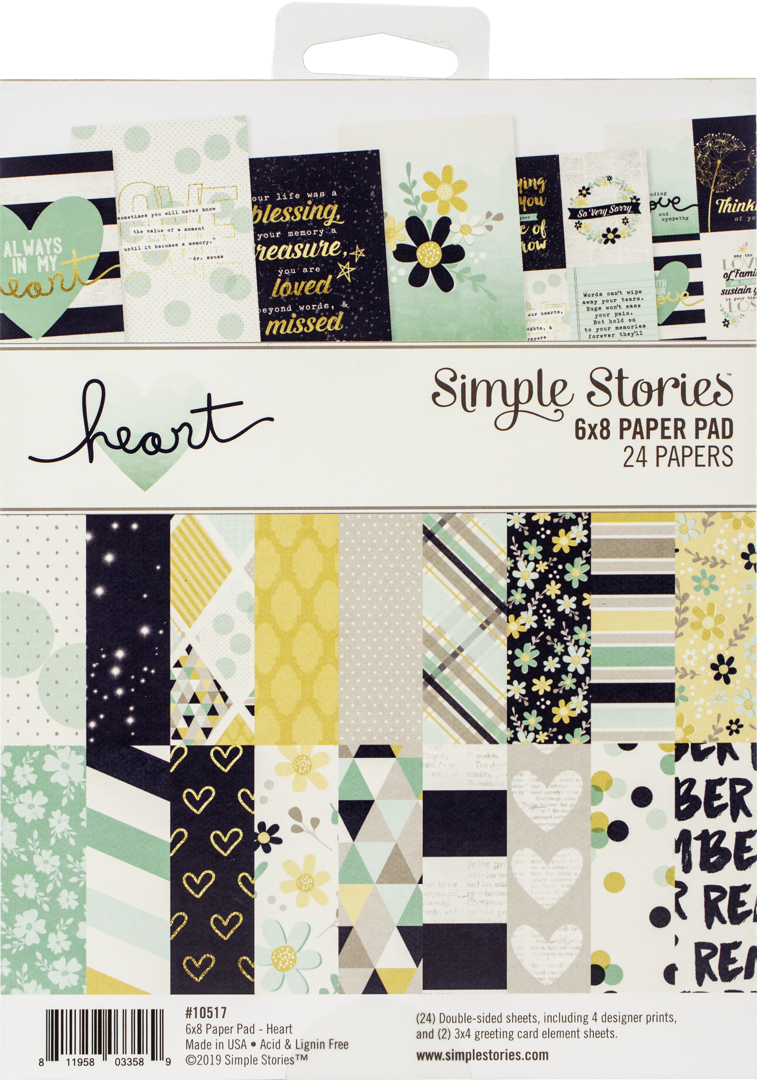 Simple Stories Double-Sided Paper Pad 6X8 24/Pkg-Heart, 8 Designs/3 Each