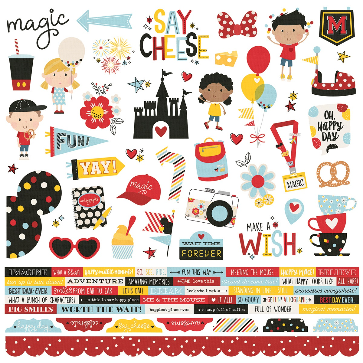 Say Cheese 4 Cardstock Stickers 12X12-Combo
