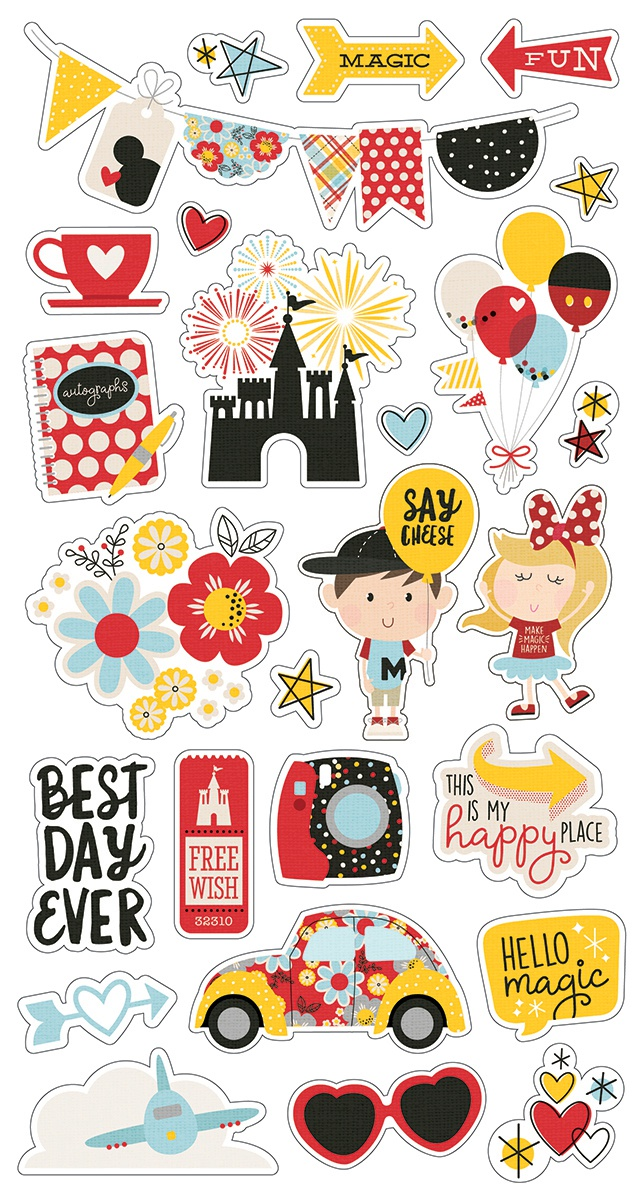 Say Cheese 4 Chipboard Stickers 6X12-