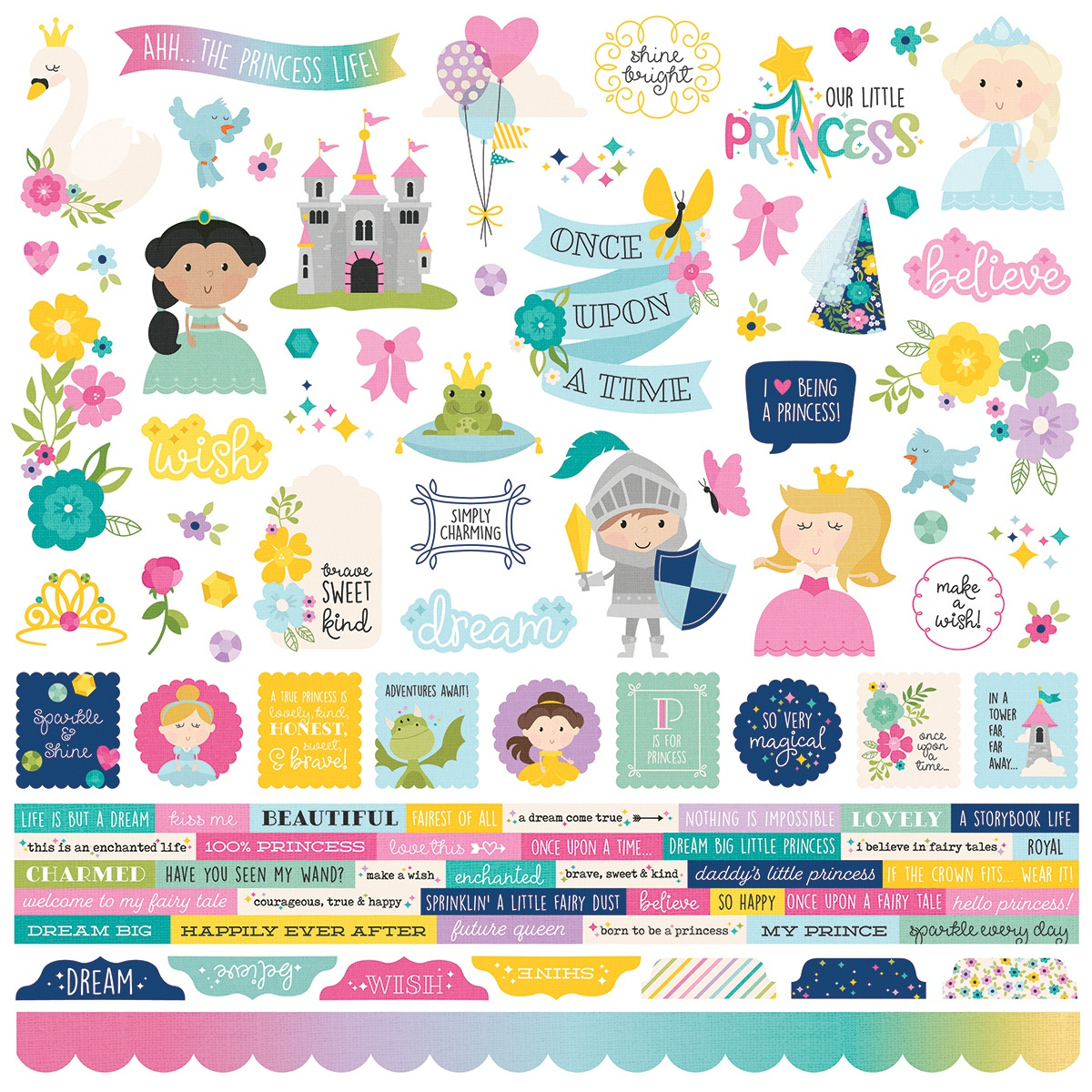 Little Princess Cardstock Stickers 12X12-Combo