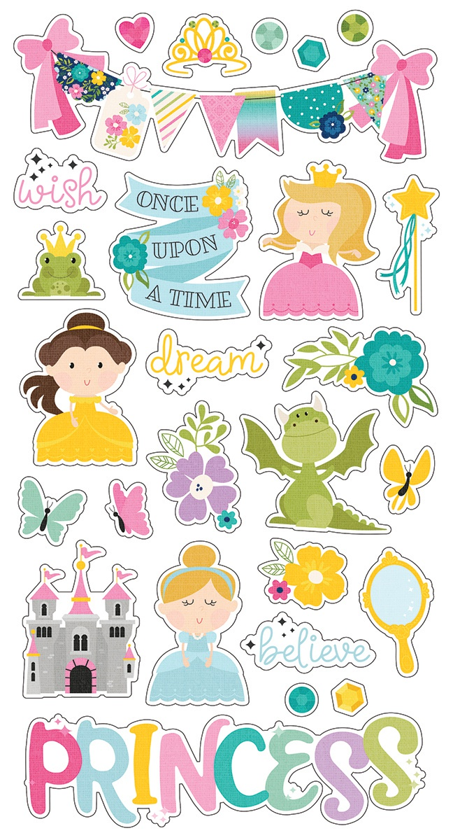 Little Princess Chipboard Stickers 6X12-