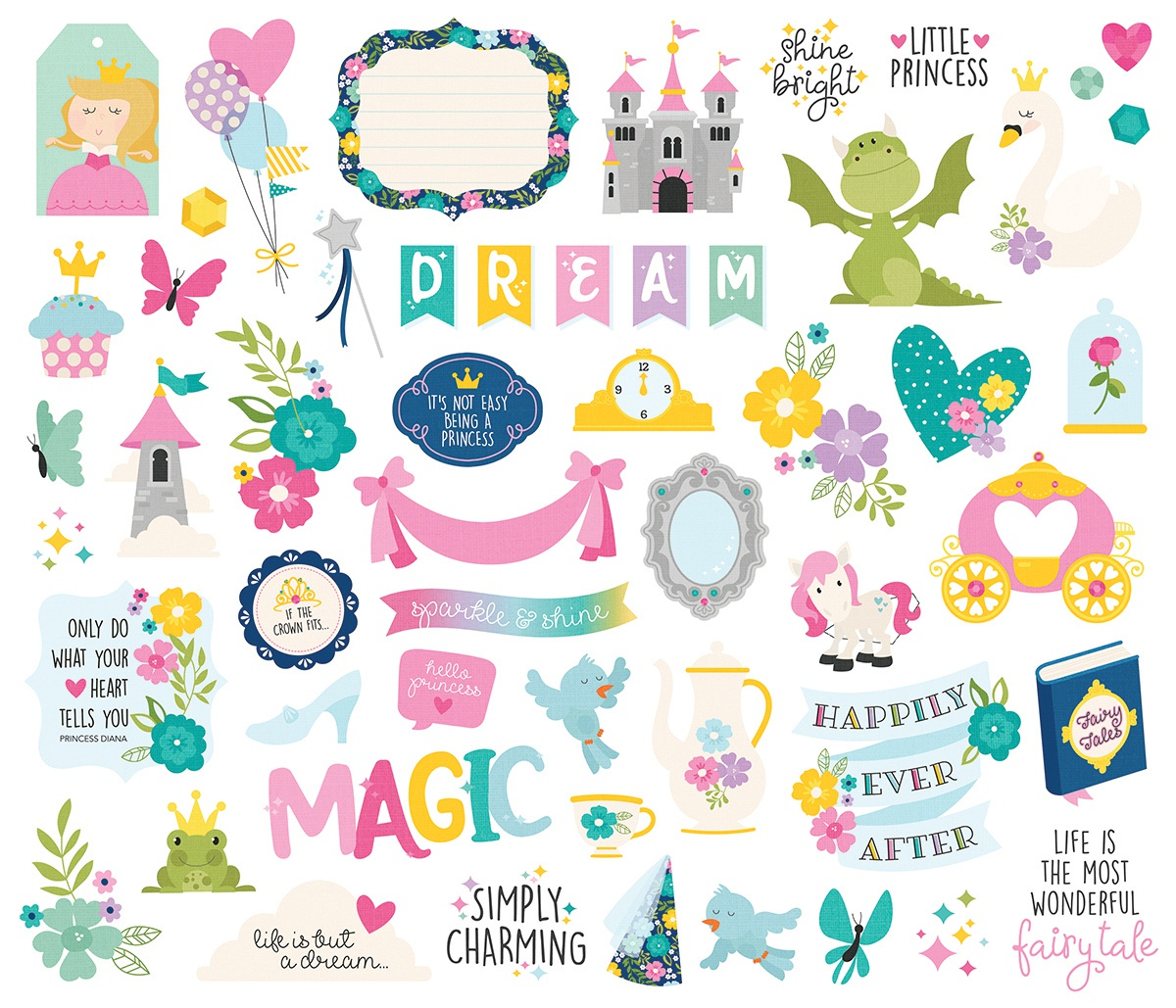 Little Princess Bits & Pieces Die-Cuts 53/Pkg-