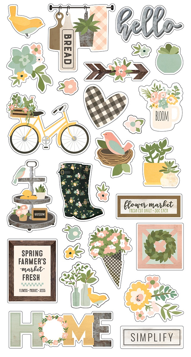 Spring Farmhouse Chipboard Stickers 6X12-