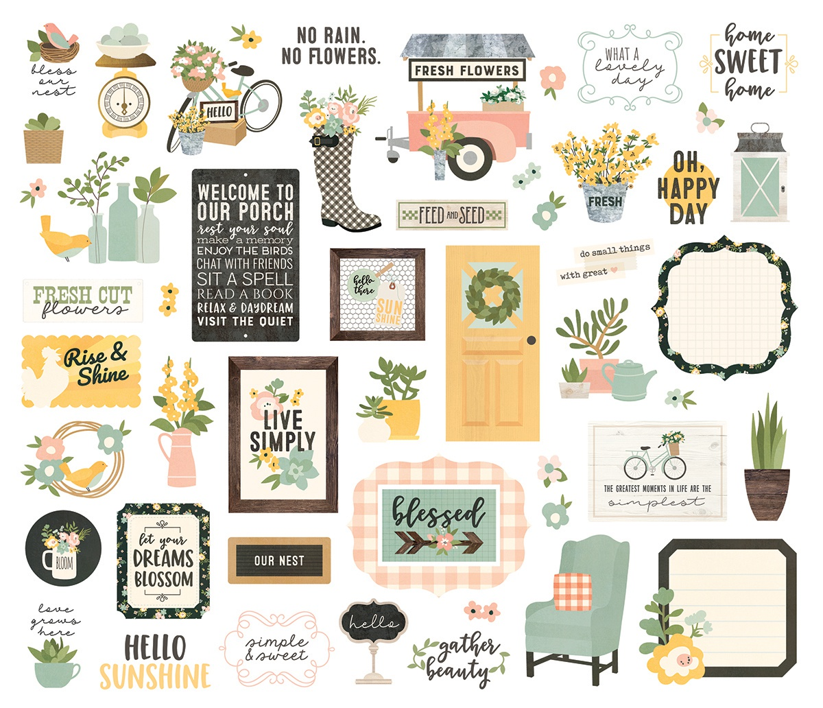 Spring Farmhouse Bits & Pieces Die-Cuts 66/Pkg-