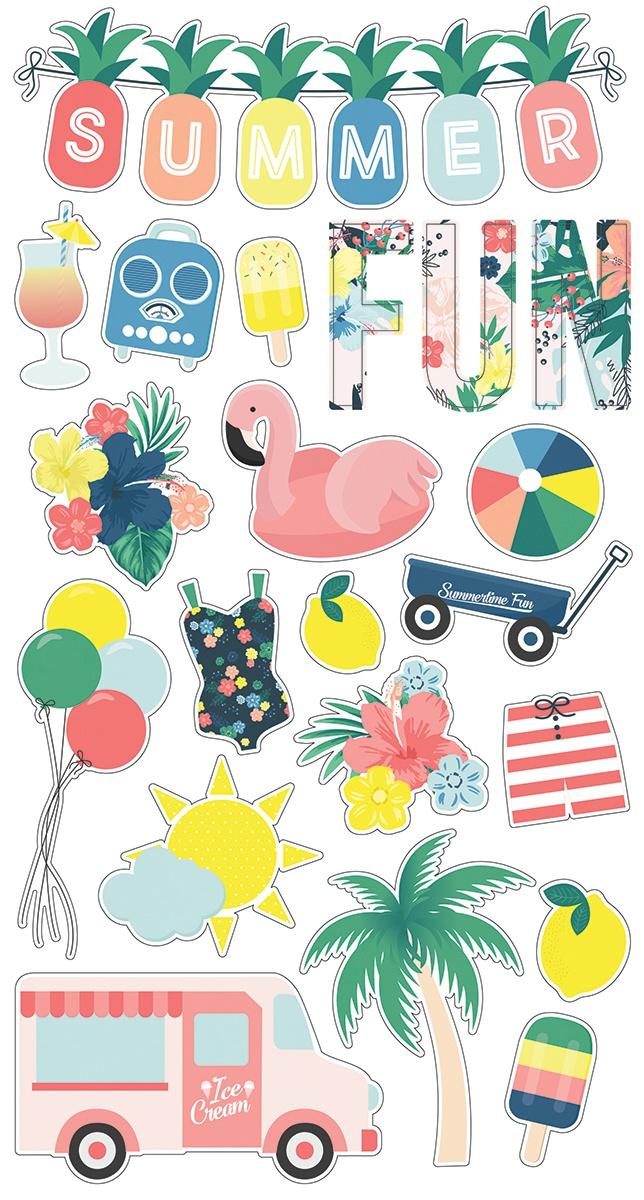 Sunshine & Blue Skies Chipboard Stickers 6X12-